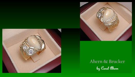 Ahern & Brucker-jacob Elk Ivory & Diamond Mushroom ring