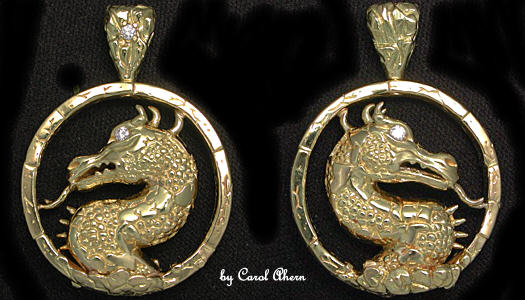 18kt gold dragon pendant wdiamonds aloadofball Choice Image